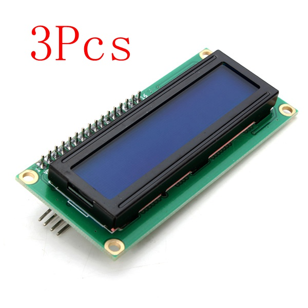 3pcs geekcreit®  iic / i2c 1602 blue backlight lcd display module for arduino