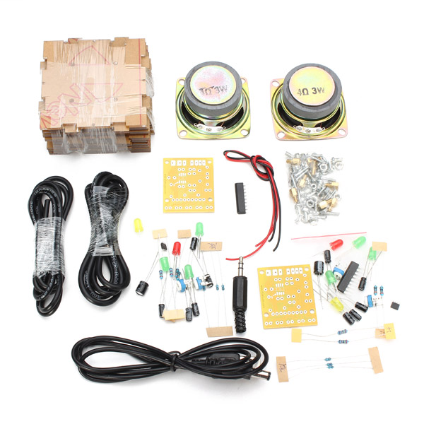 With Housing DIY Music Spectrum LED Flash Kit + DIY Amplifier Speaker Kit
