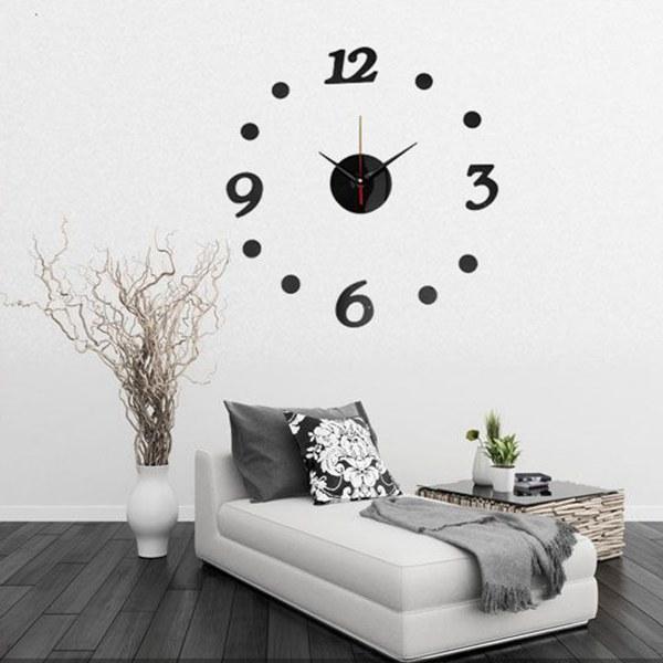 3D DIY Number Decal Frameless Wall Clock Room Decoratio