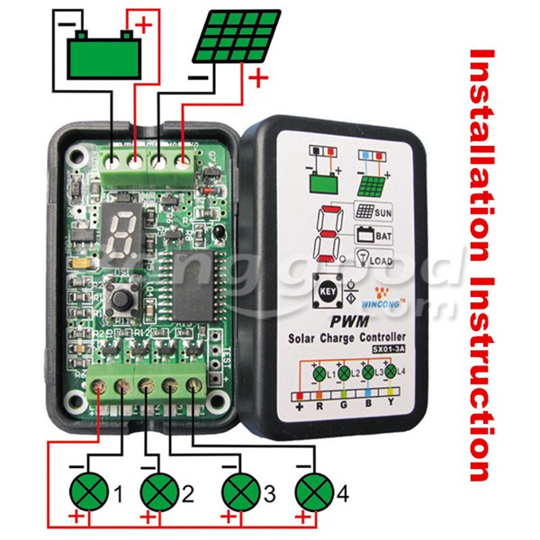 3A 6V 12V PWM Solar Panel Light Controller Battery Charge Regulator Intelligent