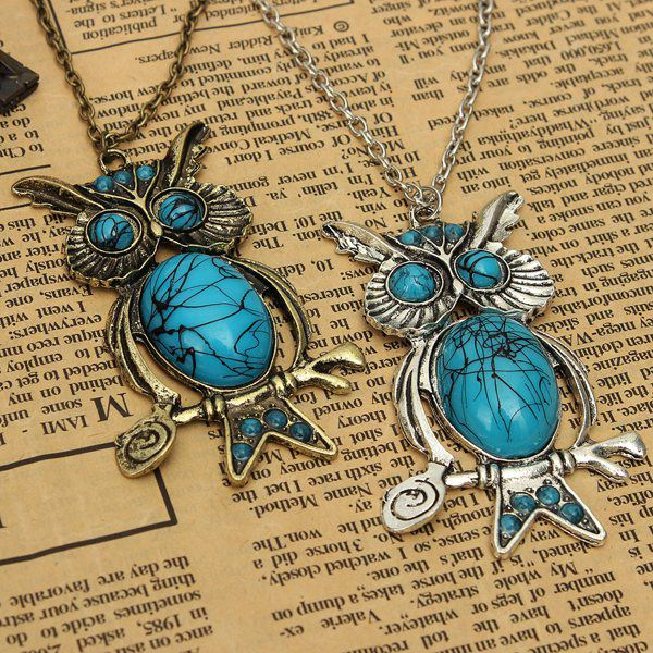 Antique Silver Bronze Blue Stone Owl Pendant Necklace Women Jewelry