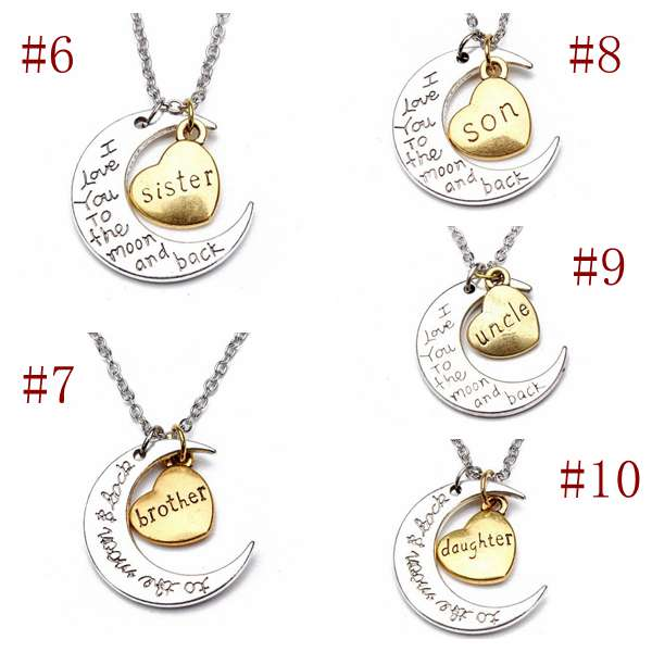 I Love You To The Moon And Back Family Member Engraved Letter Necklace