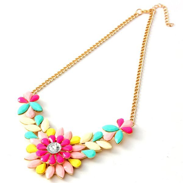 Crystal Acrylic Flower Sunflower Bib Choker Statement Pendant Necklace