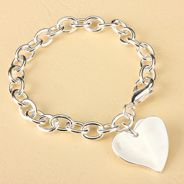 925 Silver Plated Double Hearts Charm Thick Metal Chain Bracelet