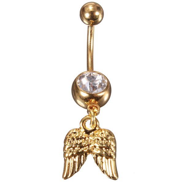 Golden Angel Wings Crystal Navel Belly Button Ring Body Piercing