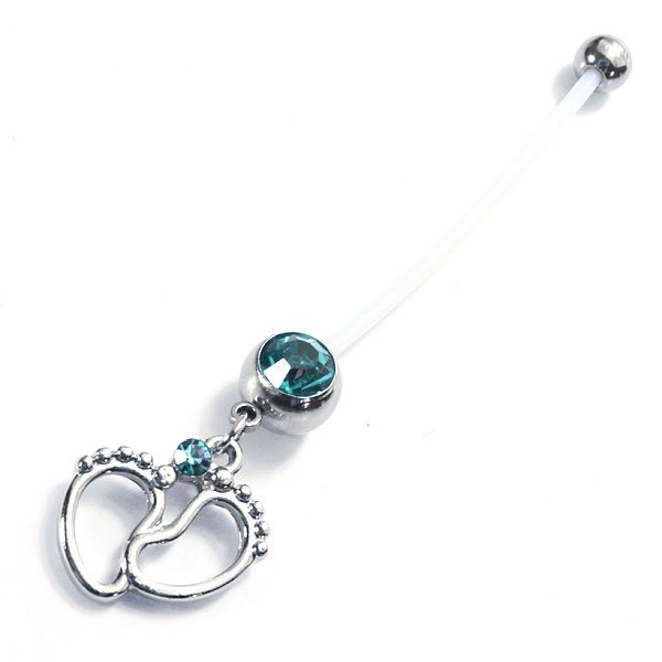 Crystal Baby Feet Charm Navel Belly Ring Body Piercing Jewelry