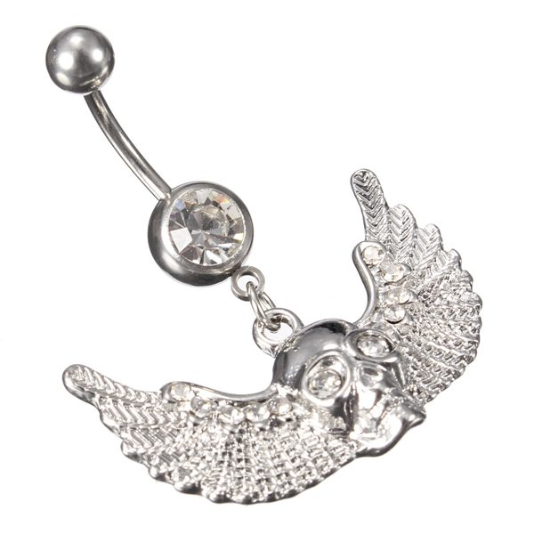 Crystal Skull Wings Navel Belly Button Ring Piercing Body Jewelry