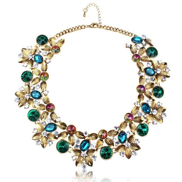 Vintage Crystal Flower Chunky Collar Choker Statement Necklace