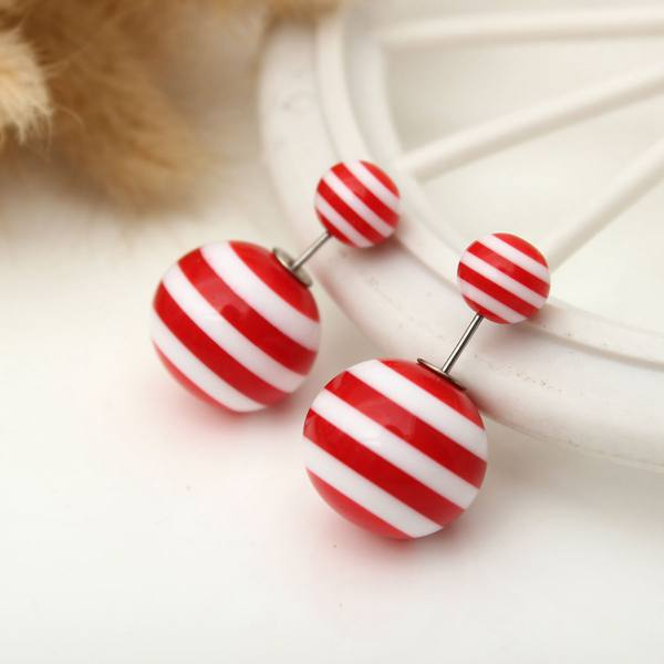 Stripe Pearl Double Faced Balls Stud Earrings For Women