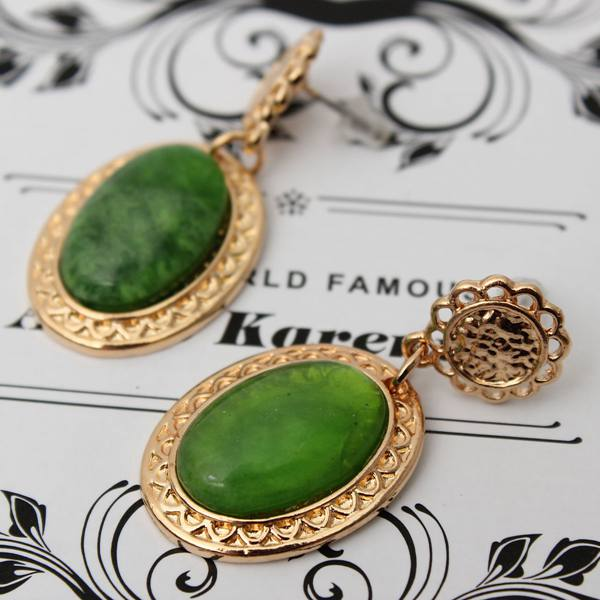 Hollow Flower Water Drop Oval Gem Dangle Earrings For Women