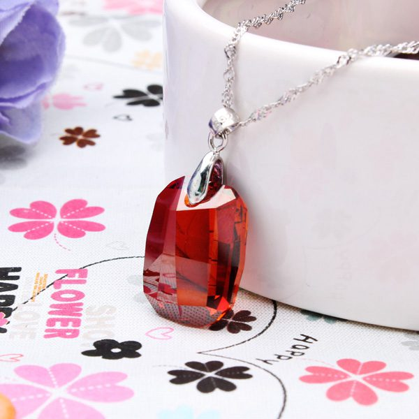925 Sterling Silver Rhombus Austrian Crystal Necklace