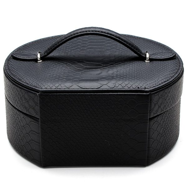 Snake Leather Sector Rings Necklaces Jewelry Organizer Storage Box Case