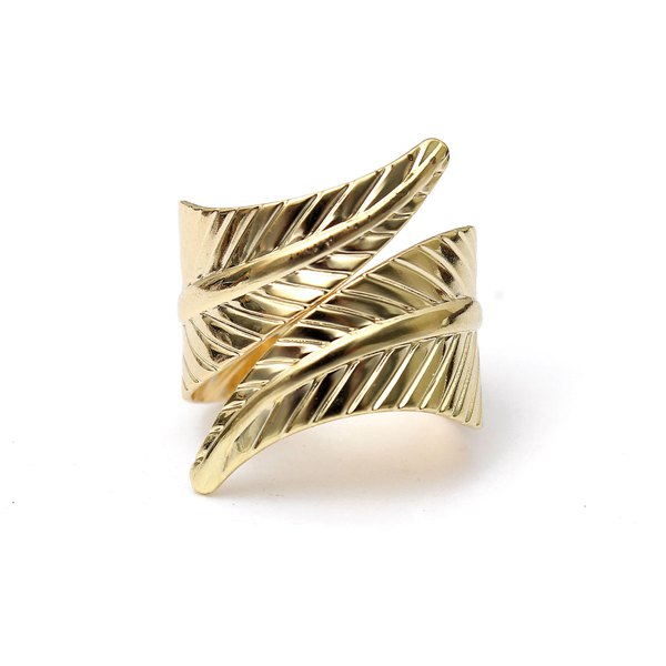 1pc Vintage Multi Patterns Gold Leaf Hollow Out Square Finger Ring