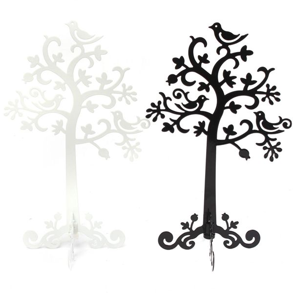 Metal Tree Bird Earring Bracelet Necklace Ring Jewelry Display Stand Holder