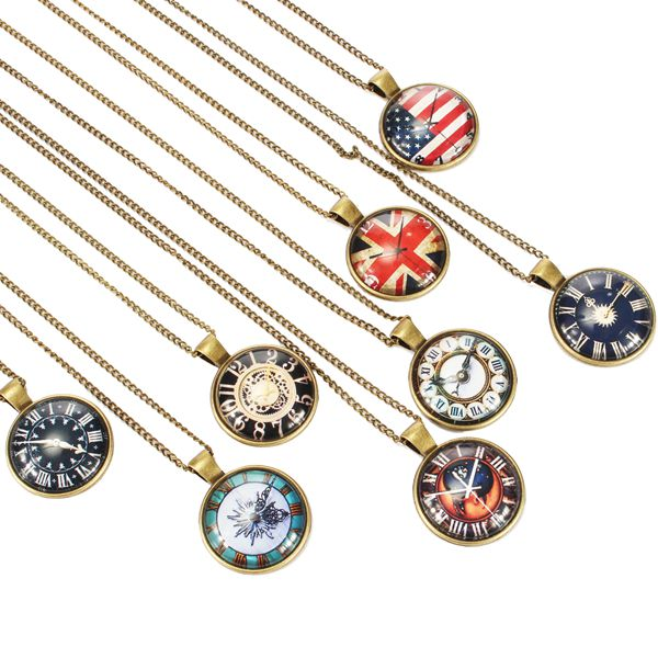 Vintage Bronze Glass Cabochon US UK Flag Watch Pendant Necklace