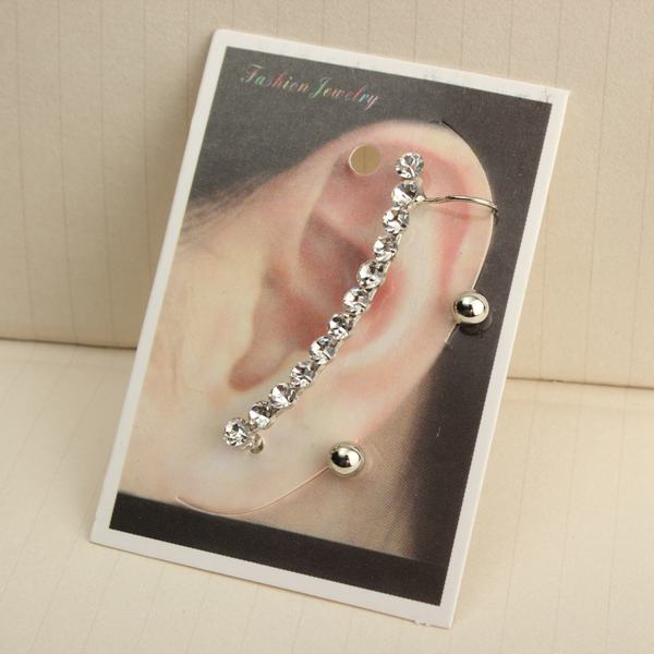1pc Silver Rhinestone Ear Clip Stud Earring For Women