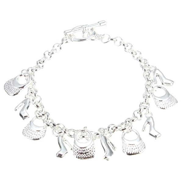 Silver Plated Shoes Bags Chain Pendant Bracelet Women Jewelry