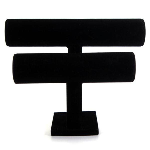 Black Velvet Double Tier T-Bar Bracelet Jewelry Display Stand Holder