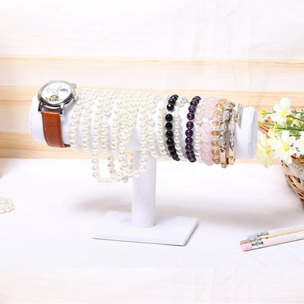 White Velvet Bracelet Watch T-Bar Rack Jewelry Display Stand Holder