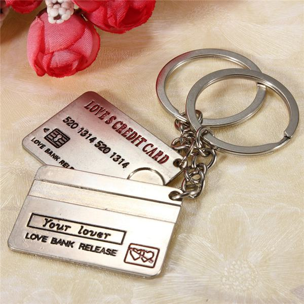 Lovely Bank Card Alloy Key Chain Credit Card Lovers Key Ring