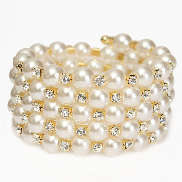 Temperament Full Rhinestone Pearl Multilayer Winding Wide Bracelet