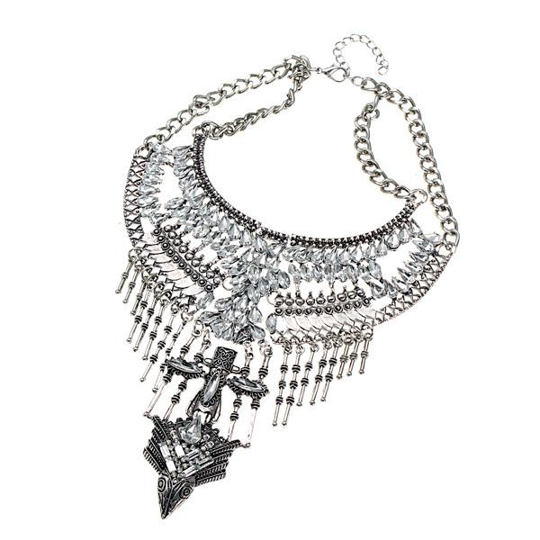 Vintage Punk Arrow Rhinestone Bib Collar Tassel Statement Necklace