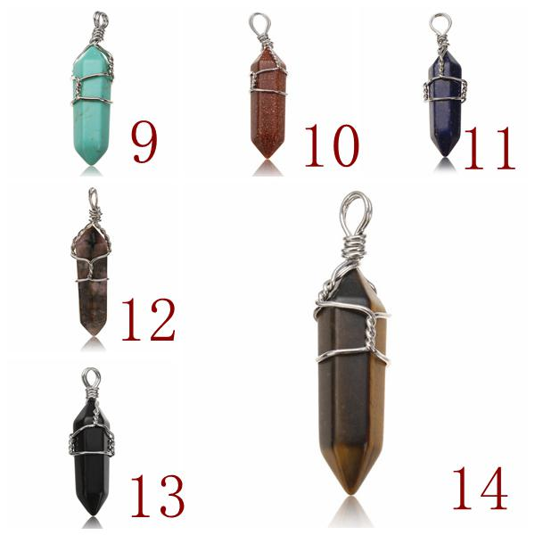 Wire Wrapped Hexagonal Pendulum Gemstone Column Quartz Pendant Charm