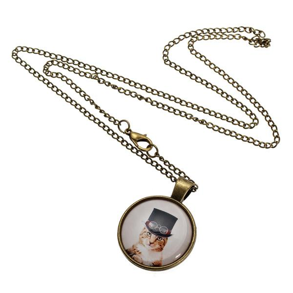 Cute Cat Glass Cabochon Bronze Chain Pendant Necklace For Women