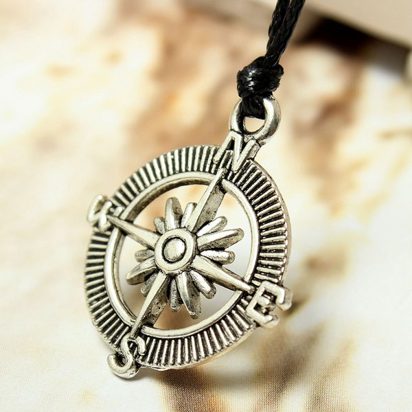 Unsiex Silver Plated Tibetan Charm Leather Cord Pendant Necklace