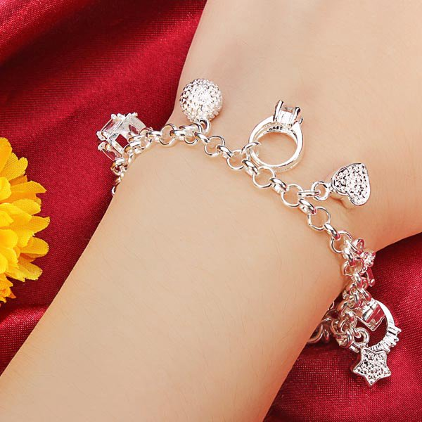925 Silver Plated Crystal Charms Bracelet Metal Chain Bracelet