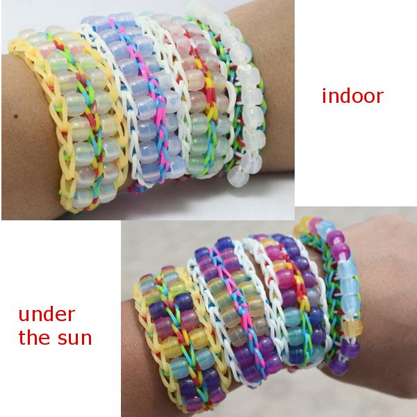 DIY Bracelet UV Changing Color Bead Pony Bead Box Set With Clip Hook