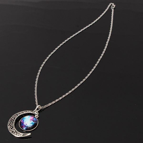 Silver Plated Moon Galactic Universe Glass Cabochon Pendant Necklace