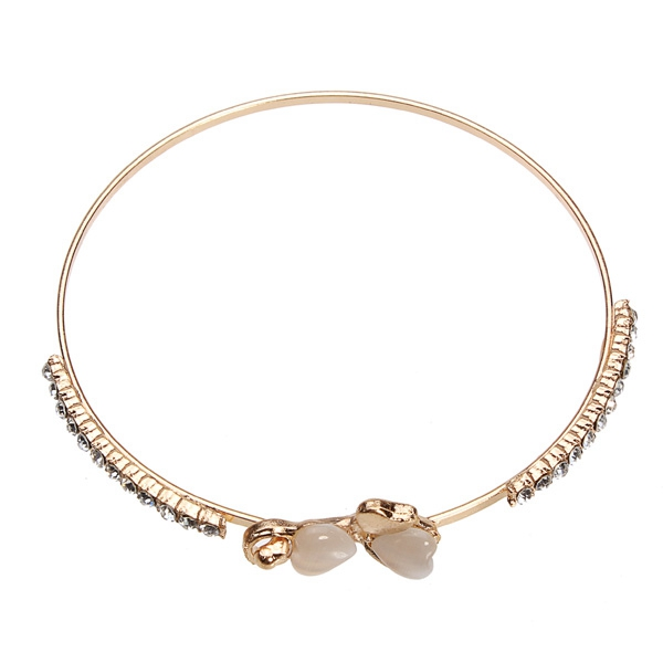 Opal Hearts Crystal Love Bowknot Gold Plated Cuff Bracelet