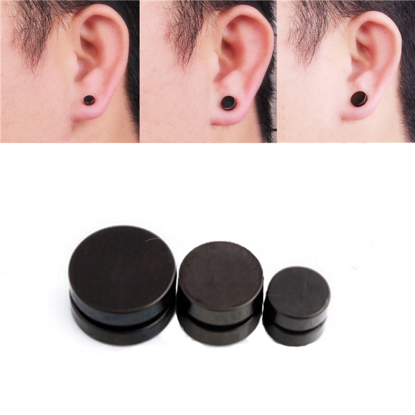 Men Black Magnetic Rounded Ear Clip Studs Earrings Non