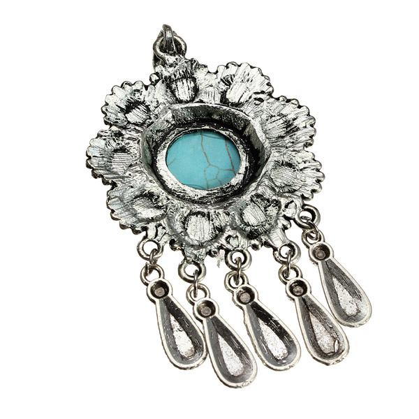 Antique Silver Flower Owl Turquoise Charm Necklace Pendant Unisex