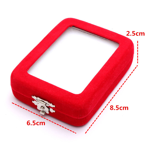 Red Velvet Necklace Pendant Jade Jewelry Box Case Display Holder