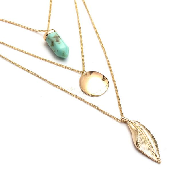 Vintage Leaf Shape Bullet Natural Stone Multilayer Long Chains Necklace