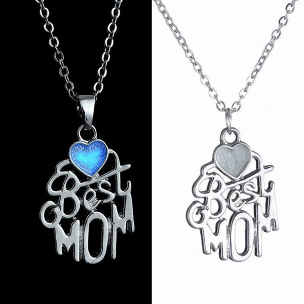 I Love Mom Best Friends Engraved Letter Heart Luminous Necklace