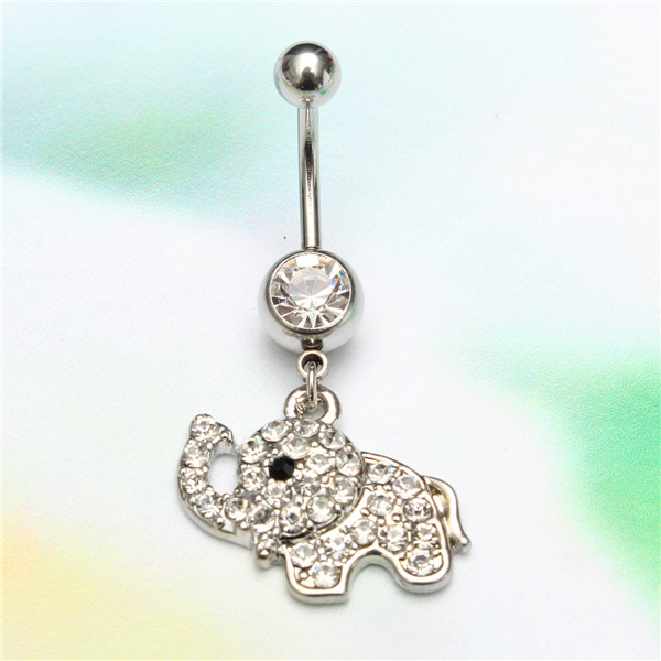 Crystal Elephant Belly Button Rings Dangle Navel Bar Body Piercing Jewelry