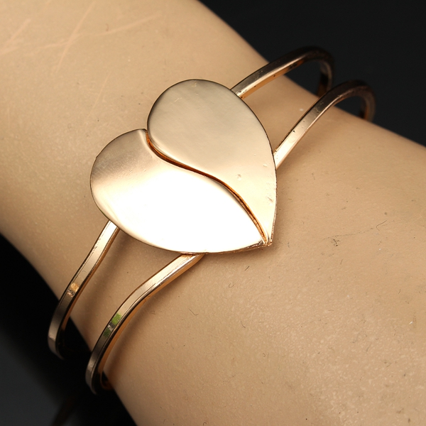 Two Layer Cuff Chain Gold Plated Love Heart Bracelet Bangle