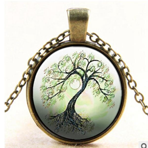 Tree Glass Cabochon Necklace Bronze Chain Pendant Necklace