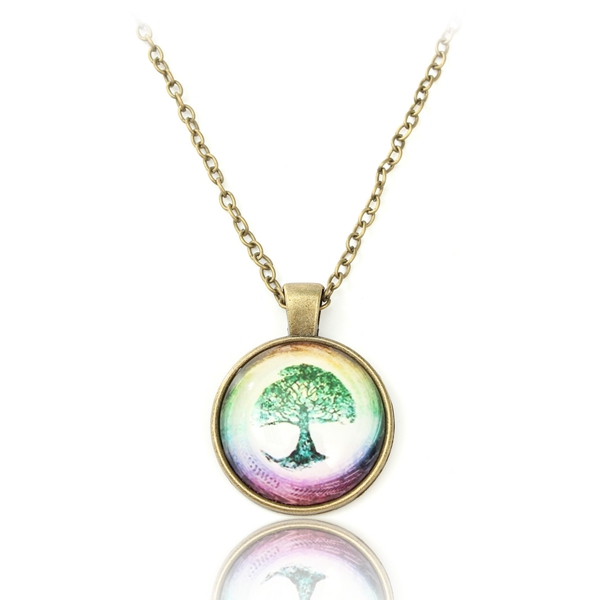 The Tree of Life Glass Cabochon Bronze Chain Pendant Necklace