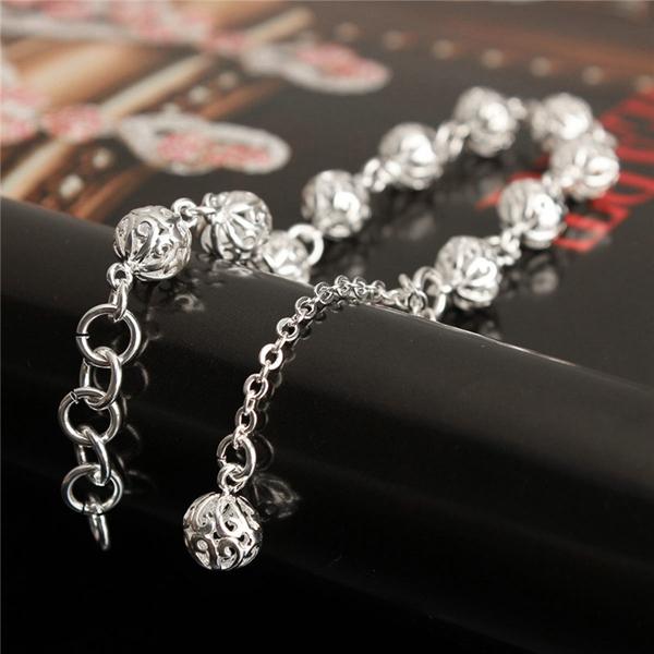 Silver Color Hollow Balls Pendant Bracelet For Women