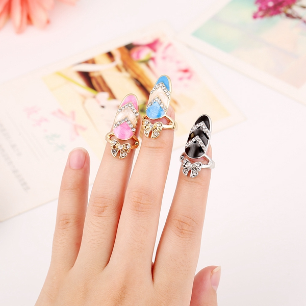 European Cute Finger Ring Inlay Rhinestone Bowknot Nail Ring