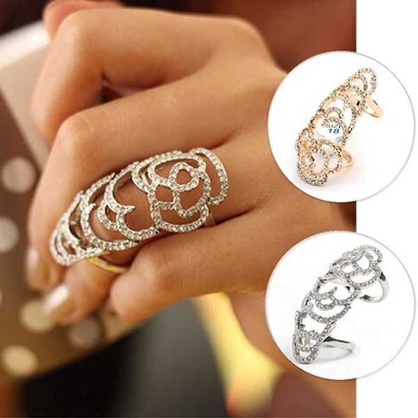 Silver Gold Plated Crystal Rhinestone Flower Hollow Joint Knuckle Ring