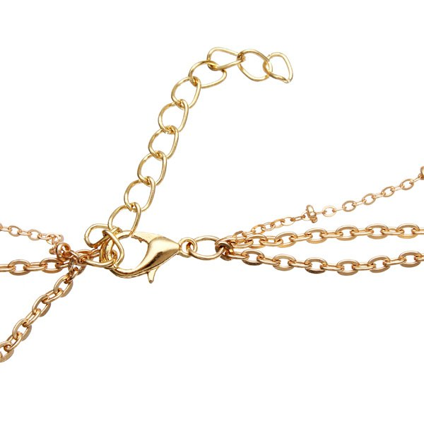 Metal Sequin Stick Multilayer Necklace Gold Plated Chain