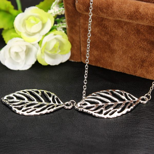 Vintage Gold Silver Big Leaf Pendant Clavicle Chain Necklace For Women