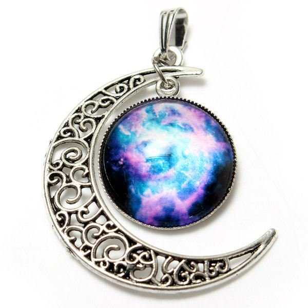 Galaxy Moon Universe Glass Cabochon Crescent Pendant Chain Necklace