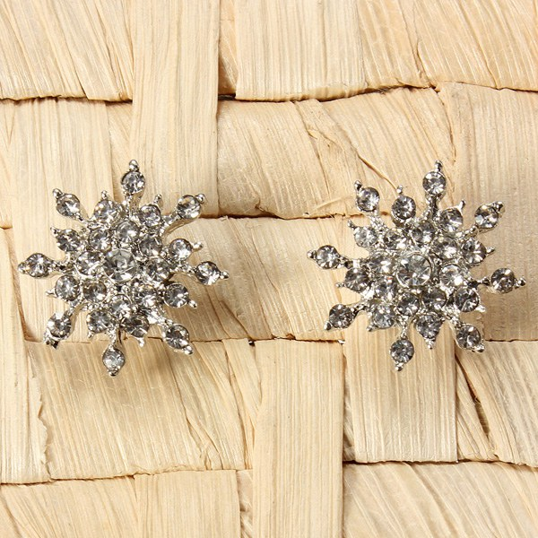 Silver Plated Crystal Rhinestone Snowflake Star Stud Earring For Women