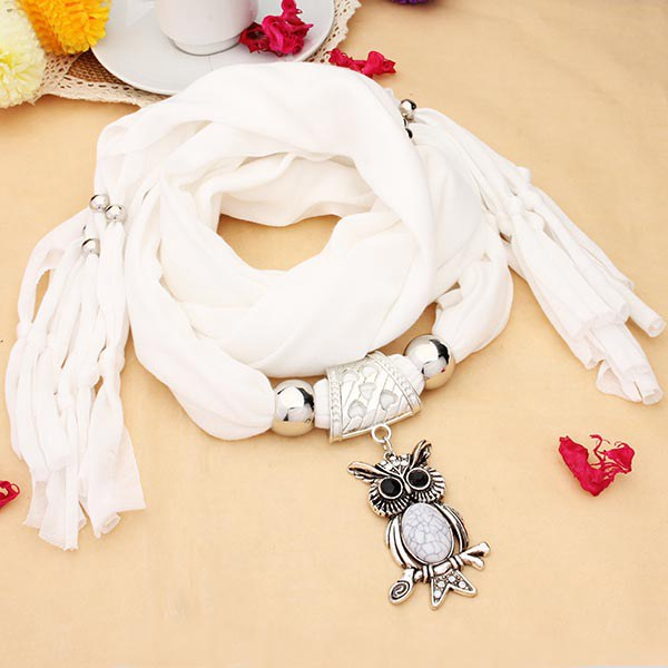 White Oval Stone Crystal Owl Pendant Scarf Necklace Women Jewelry